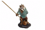 Figurine, Man Fishing, 7cm, Green